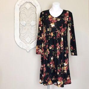 Reborn J   Black Floral Long Sleeve Swing Dress S